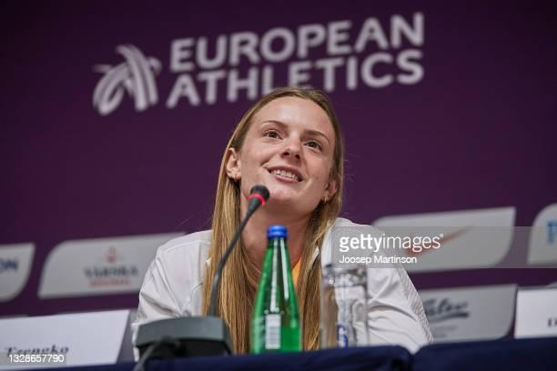 Elina Tzengko of Greece speaks to the media during the European Athletics U20 Championships press conference at Radisson Blu Hotel Olümpia Tallinn on...