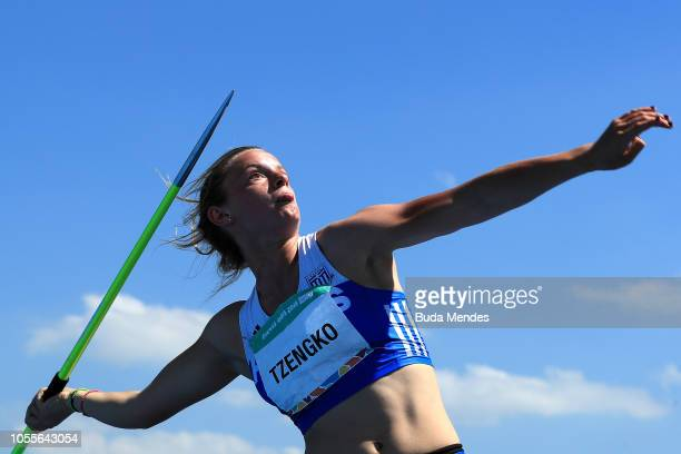 Elina Tzengo of Greece competes in Women's Javelin Throw 500g Stage 2 during day 10 of Buenos Aires 2018 Youth Olympic Games at Youth Olympic Park...