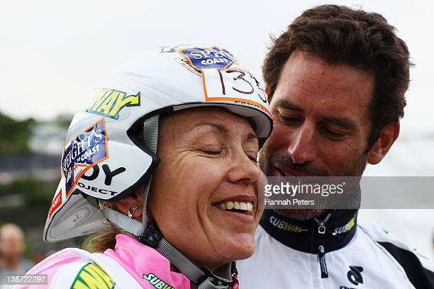 Elina Ussher of Nelson celebrates with her husband Richard Ussher after winning the Individual One Day event during the 2012 Speights Coast to Coast...