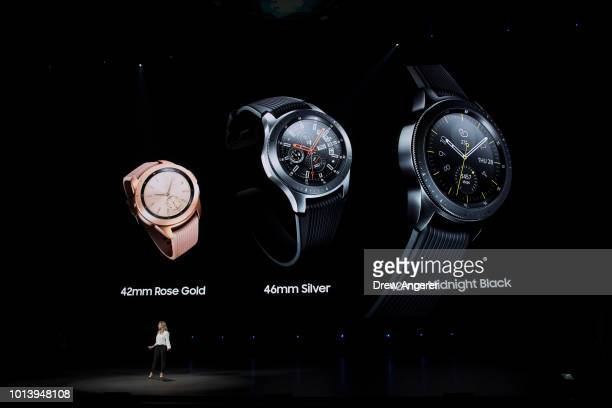 Elina Vives Samsung's Senior Director of Marketing speaks about the new Samsung Galaxy Watch during a product launch event at the Barclays Center on...