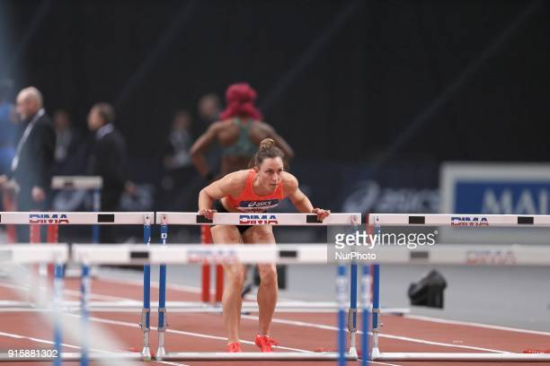 Eline Berings of Belgium competes in 60m Hurdles during the Athletics Indoor Meeting of Paris 2018 at AccorHotels Arena in Paris France on February 7...