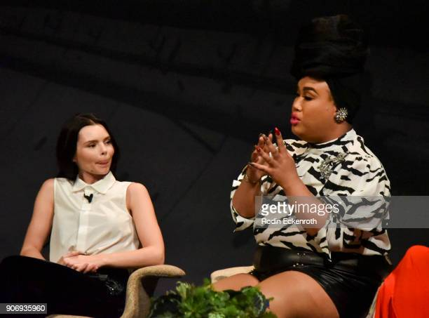 Eline Powell and Patrick Starrr speak on stage at Freeform Summit on January 18 2018 in Hollywood California