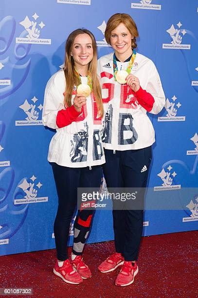 Elinor Barker and Joanna Rowsell Shand arrive for the National Lottery Awards 2016 at The London Studios on September 9 2016 in London England