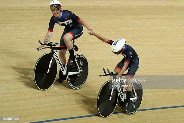 Elinor Barker and Joanna RowsellShand of Great Britain celebrate a world record in the Women's Team Pursuit Track Cycling Qualifying on Day 6 of the...