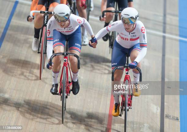Elinor Barker and Neah Evans of Great Britain or Team GB on their way to winning the silver medal in the Women's Team Pursuit Final on day two of the...