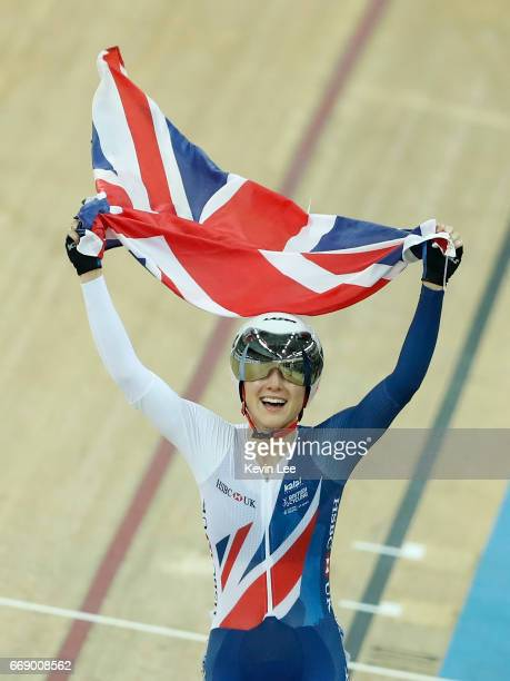 Elinor Barker of Great Britain celebrates after winning Women's Point Race Final on Day 5 in 2017 UCI Track Cycling World Championships at Hong Kong...