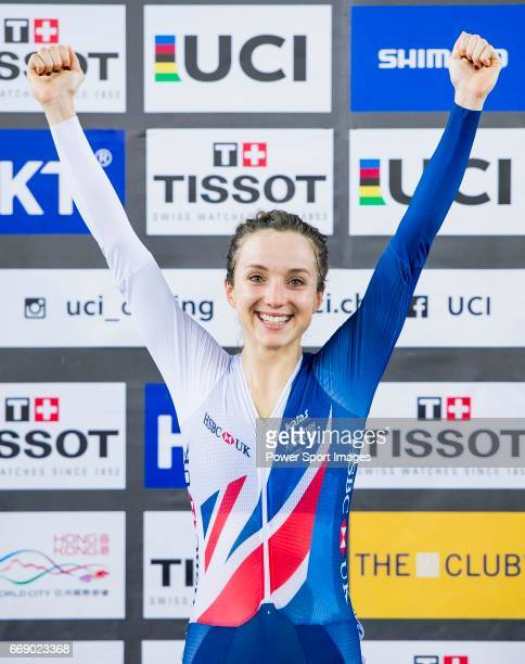 Elinor Barker of Great Britain celebrates winning in the Women's Points Race 25 km's prize ceremony during 2017 UCI World Cycling on April 16 2017 in...