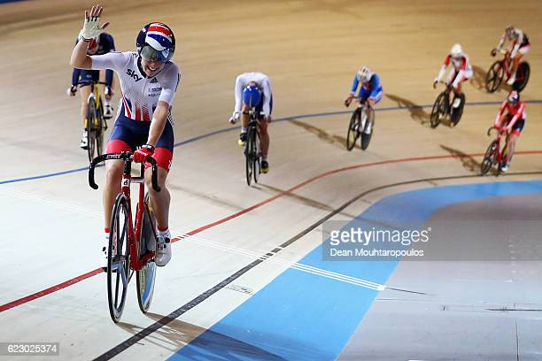 Elinor Barker of Great Britain celebrates winning the Women's Points Race Final during the Tissot UCI Track Cycling World Cup 20162017 held at the...