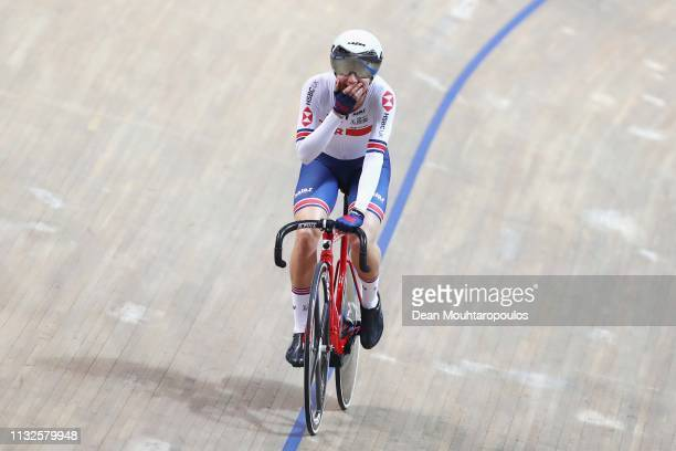 Elinor Barker of Great Britain celebrates winning the Women's scratch 10k on day one of the UCI Track Cycling World Championships held in the BGZ BNP...
