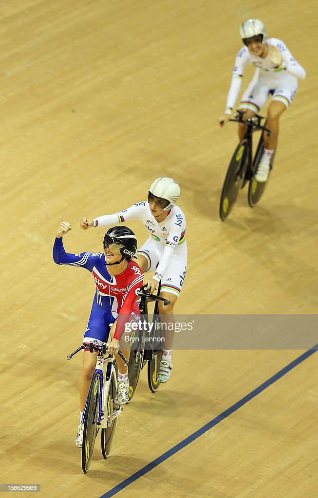Elinor Barker of Great Britain celebrates with team mates Laura Trott and Dani King after winning the Women's Team Pursuit final during day one of the UCI Track Cycling World Cup at the Sir Chris Hoy Velodrome on November 16, 2012 in Glasgow, Scotland.
