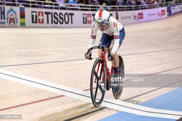 Elinor Barker of Great Britain competes during Women's Points Race during day 5 of the UCI Track Cycling World Championships Berlin at Velodrom on...