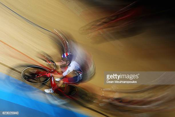 Elinor Barker of Great Britain competes in the Women's Points Race Final during the Tissot UCI Track Cycling World Cup 20162017 held at the sport...