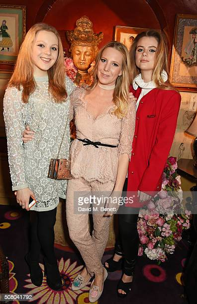 Elinor Fresson Alice NaylorLeyland and Bea Fresson attend a VIP dinner celebrating the launch of Mrs Alice for French Sole at Annabel's on February 2...