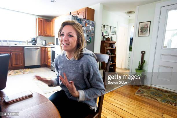 Elinor Purrier who recently won the 2018 NCAA Indoor Track Field Championships in the women's mile run sits at her home in Montgomery VT on March 15...