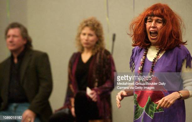 Elinor Szapiro right playing the part of Chana Sutra of the Kosher Ham's comedy troupe expresses herself during an act called American Rebbe at...