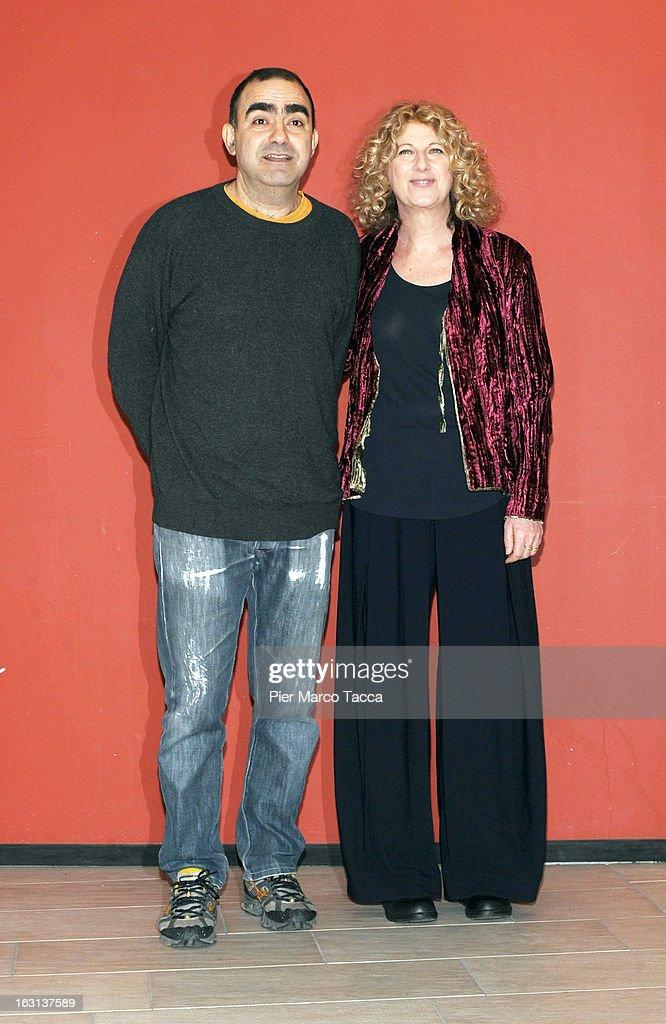 Elio and Angela Finocchiaro attend a 'Ci vuole un gran fisico' photocall on March 5, 2013 in Milan, Italy.
