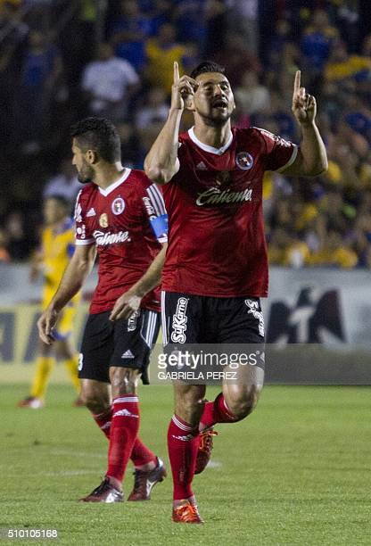 Elio Castro, forward of Tijuana celebrates after scoring against Tigres during the Mexican Clausura 2016 tournament football match at the...