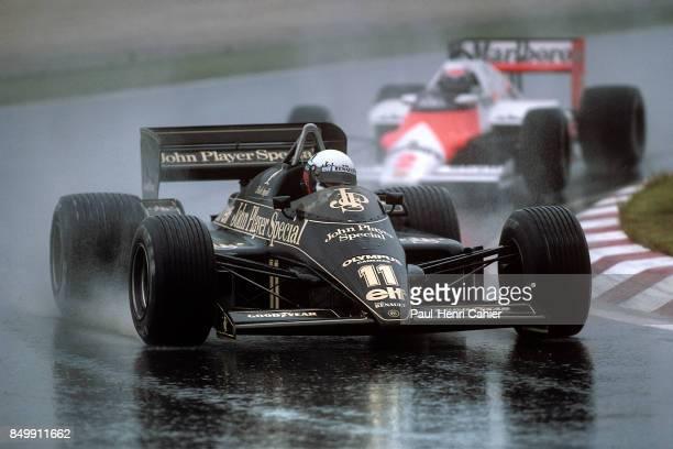 Elio de Angelis, Alain Prost, Lotus-Renault 97T, McLaren-TAG-Porsche MP4/2, Grand Prix of Portugal, Autodromo do Estoril, Estoril, Portugal, April...
