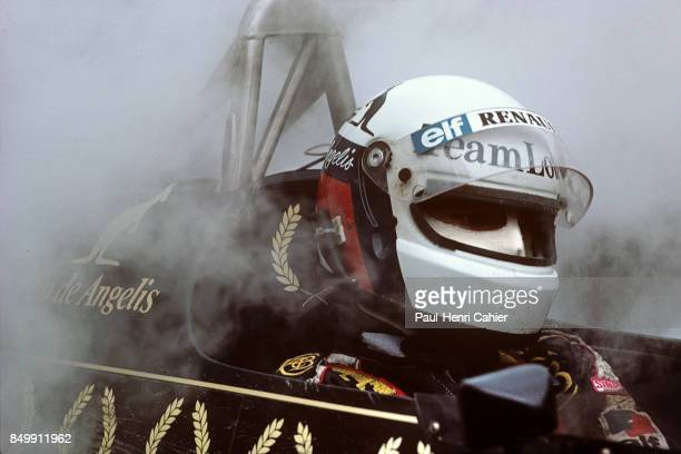 Elio de Angelis LotusRenault 95T Grand Prix of Germany Hockenheimring Hockenheim Germany August 5 1984 Elio de Angelis in the pits after suffering a...