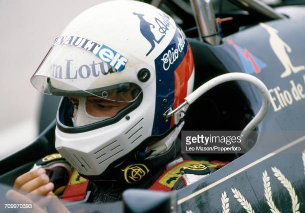 Elio de Angelis of Italy enroute to placing fourth driving a Lotus 95T with a Renault V6 engine for John Player Team Lotus during the British Grand...