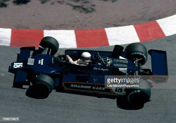 Elio de Angelis of Italy in action driving a Shadow DN9 with a Cosworth V8 engine for the Interscope Shadow Racing Team during the Monaco Grand Prix...