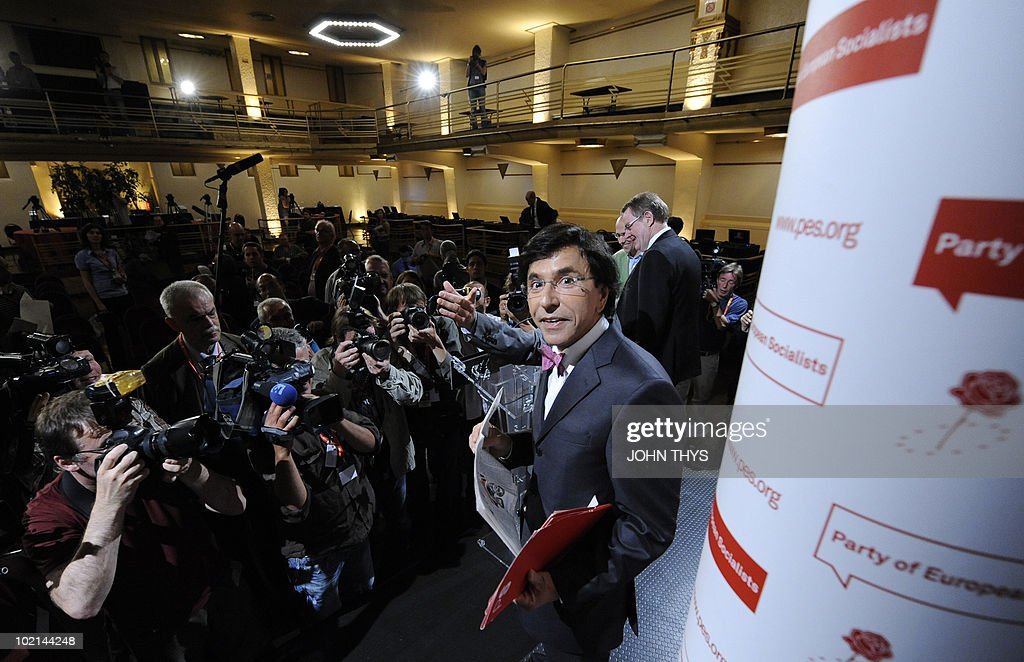 Elio Di Rupo, Socialist leader of the French-speaking Walloon minority, looks on after a press conference prior to the Party of European Socialists meeting (PES) with President Poul Nyrup Rasmussen on the challenges facing Europe and Belgium, on June 16, 2010 in Brussels. Rupo is the favourite to become prime minister -- which would make him the first francophone to hold the post since the 1970s -- after republican New Flemish Alliance (NVA) chief Bart De Wever indicated he would not be a candidate.