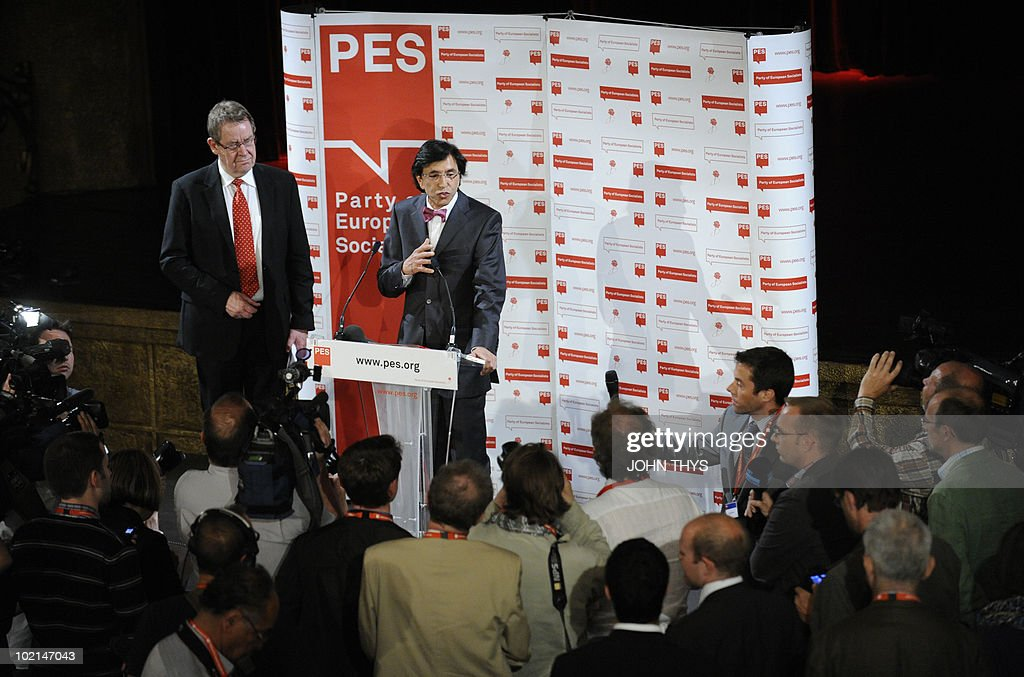 Elio Di Rupo, Socialist leader of the French-speaking Walloon minority, gives a press conference prior to the Party of European Socialists meeting (PES) with President Poul Nyrup Rasmussen (L) on the challenges facing Europe and Belgium, on June 16, 2010 in Brussels. Rupo is the favourite to become prime minister -- which would make him the first francophone to hold the post since the 1970s -- after republican New Flemish Alliance (NVA) chief Bart De Wever indicated he would not be candidate.
