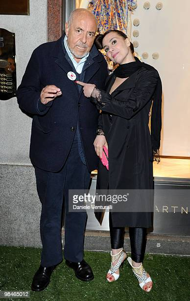 Elio Fiorucci and Paola Maugeri attend the Stella McCartney flagship store opening party on April 14 2010 in Milan Italy