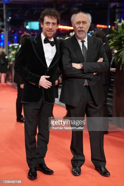 Elio Germano and director Giorgio Diritti arrive for the closing ceremony of the 70th Berlinale International Film Festival Berlin at Berlinale...