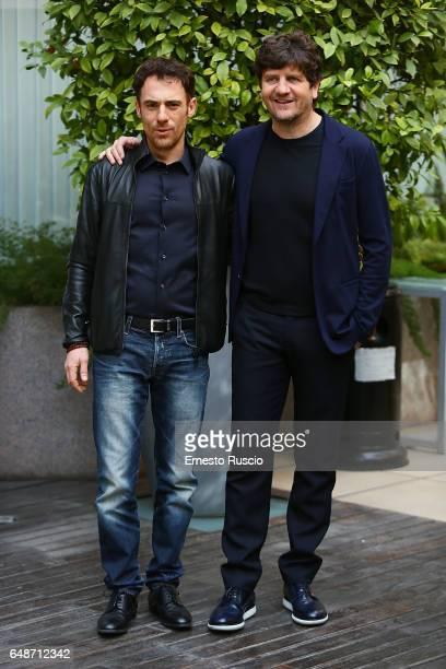 Elio Germano and Fabio De Luigi attend a photocall for 'Questione Di Karma' at Hotel Visconti on March 6 2017 in Rome Italy