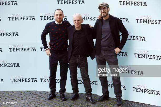 Elio Germano Daniele Lucchetti and Marco Giallini attend 'Io Sono Tempesta' photocall at The Space Moderno on April 5 2018 in Rome Italy