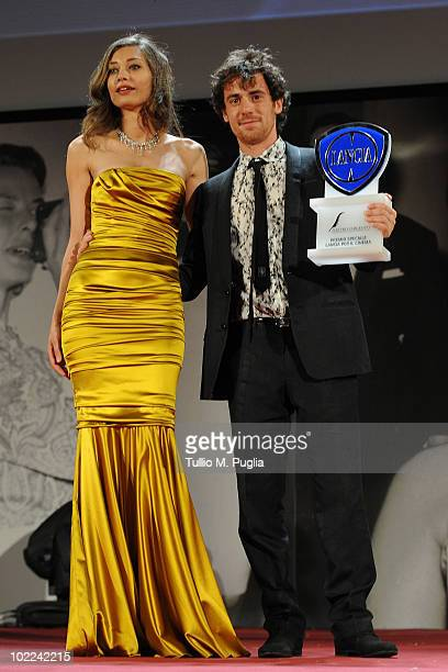 Elio Germano poses with Margaret Made after receiving 'Special Lancia Award for Cinema' at the Nastri d'Argento ceremony awards on June 19 2010 in...