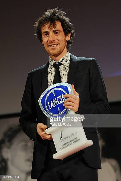 Elio Germano poses with 'Special Lancia Award for Cinema' at the Nastri d'Argento ceremony awards on June 19 2010 in Taormina Italy