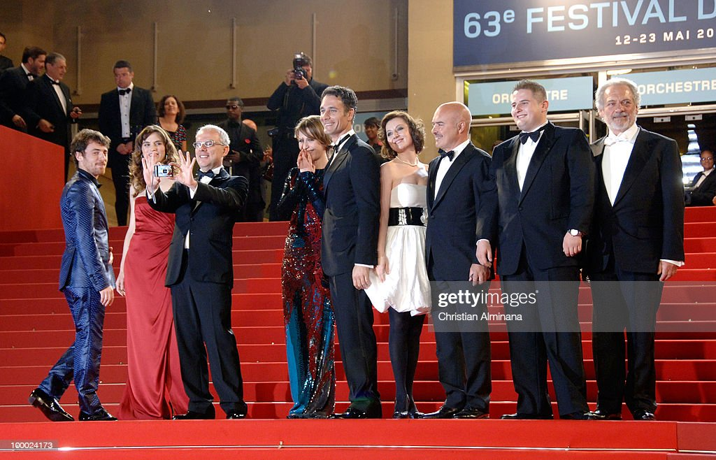 Elio Germano, Stefania Montorsi, director Daniele Luchetti, Alina Berzenteanu, Raoul Bova, guest, Luca Zingaretti, Marius Ignat and Giorgio Colangeli attend the 'Our Life' Premiere held at the Palais des Festivals during the 63rd Annual International Cannes Film Festival on May 20, 2010 in Cannes, France.