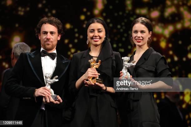 "Elio Germano, winner of the Silver Bear for Best Actor for the film ""Hidden Away"", Baran Rasoulof with the Golden Bear for Best Film for the film..."