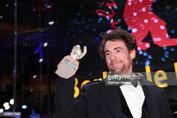 Elio Germano winner of the Silver Bear for Best Actor for the film Hidden Away poses after the closing ceremony of the 70th Berlinale International...