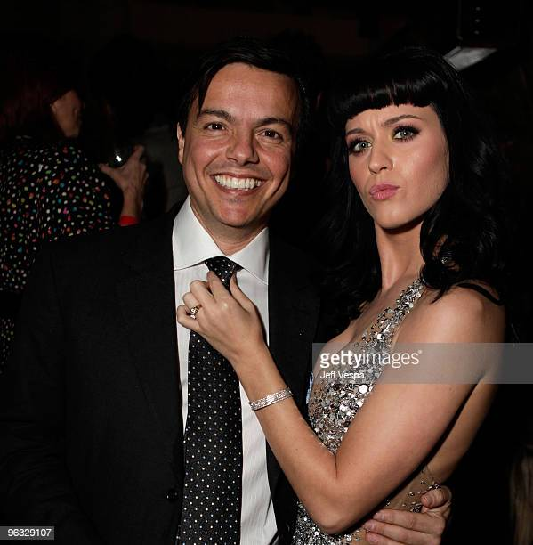 Elio LeoniSceti CEO EMI Music and Singer Katy Perry attend the 2010 EMI Post GRAMMY Party at the W Hollywood Hotel and Residences on January 31 2010...