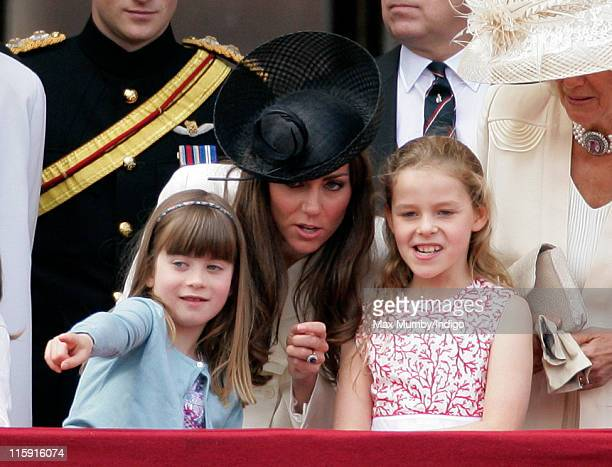 Eliose Taylor Catherine Duchess of Cambridge and Margarita Armstrong Jones stand on the balcony of Buckingham Palace after the Trooping the Colour...