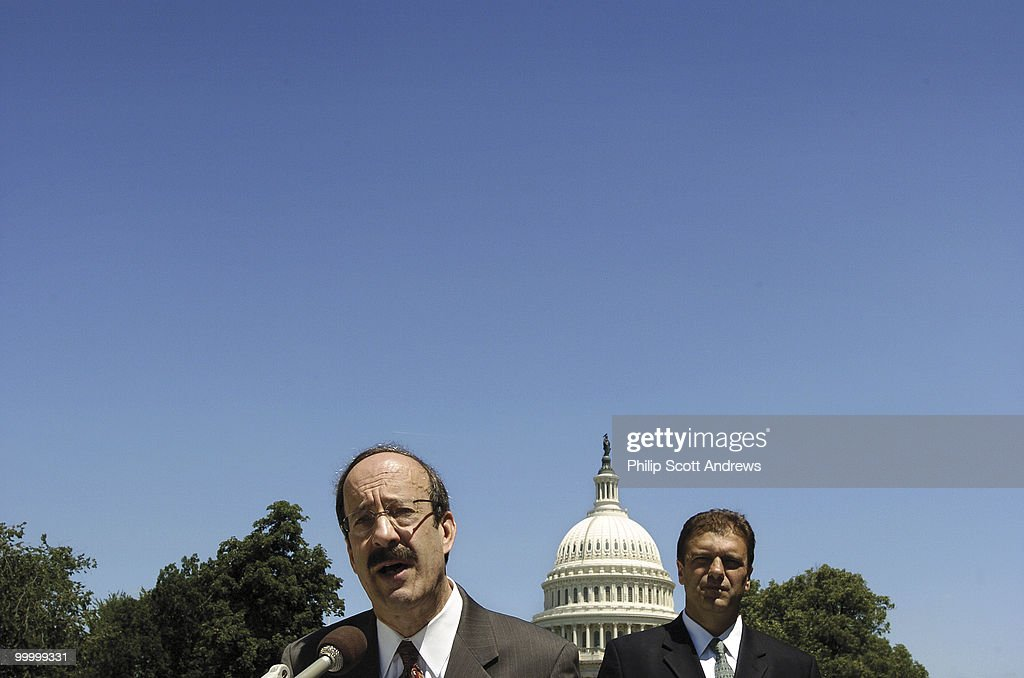 Eliot Engel, D-NY, and Avni Mustafaj, Executive Director of the National Albanian American Council, held a press conference outside the Cannon House Office Building where he expressed outrage over an ad published in the Roll Call newspaper. The ad cakked for the prevention of an independent Kosovo and compared the muslims in that region to the Taliban regime.