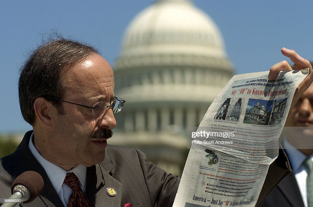 Eliot Engel, D-NY, held a press conference outside the Cannon House Office Building where he expressed outrage over an ad published in the Roll Call newspaper. The ad called for the prevention of an independent Kosovo and compared the muslims in that region to the Taliban regime.