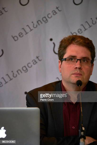 Eliot Higgins from the citizen journalist's organisation Bellingcat is portrayed during a press conference in the Circus Theater about suspects...