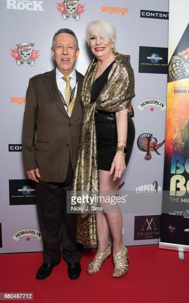 Eliot M Cohen and Angie Bowie attend the UK Premiere of Jon Brewer's 'BESIDE BOWIE The Mick Ronson Story' at The Mayfair Hotel on May 08 2017 in...