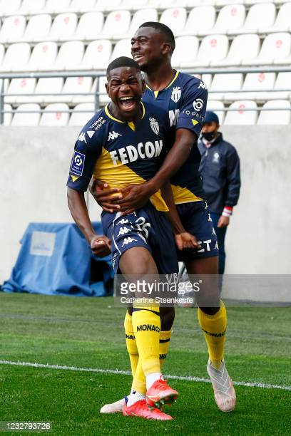 Eliot Matazo of AS Monaco celebrates his goal with Youssouf Fofana of AS Monaco during the Ligue 1 match between Stade de Reims and AS Monaco at...