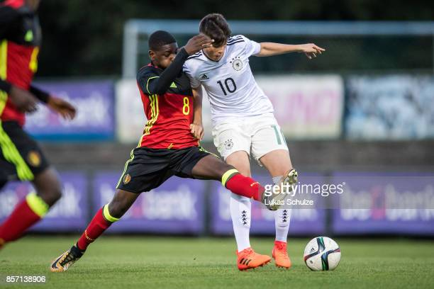 Eliot Matazo of Belgium and Lazar Samardzic dd fight for the ball during the friendly match between U16 Belgium and U16 Germany on October 3 2017 in...