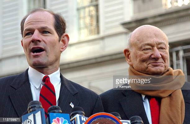 Eliot Spitzer and Ed Koch during Former NYC Mayor Ed Koch Endorses Attorney General Eliot Spitzer for New York State Governor December 30 2005 at New...