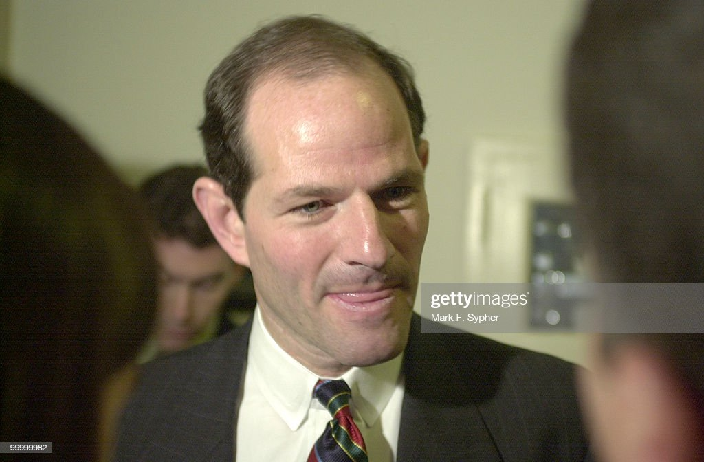 Eliot Spitzer, Attorney General NY, addresses media in the Longworth Building on Thursday, after testifying. Spitzer feels that charitable organizations, including the American Red Cross, has collected to much money from the events of September 11.