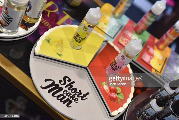 Liquids on display at the Vape Jam UK 4 at ExCel on April 6 2018 in London England Vape Jam UK the premier Electronic Cigarette and ELiquid trade...