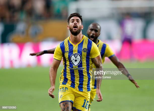 Eliran Atar of Maccabi Tel Aviv FC celebrates his equaliser in front of Eli Dasa of Maccabi Tel Aviv FC during the UEFA Europa League First...