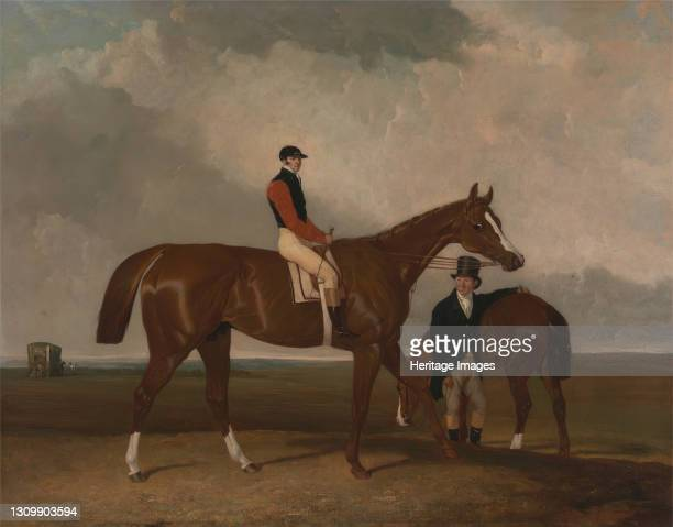 Elis' at Doncaster, Ridden by John Day, with his Van in the Background, between 1836 and 1837. Artist Abraham Cooper. .