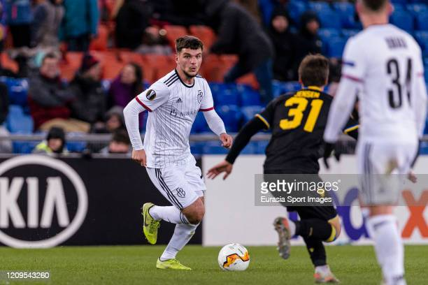 Elis Isufi of Basel runs with the ball during the UEFA Europa League round of 32 second leg match between FC Basel and APOEL Nikosia at St JakobPark...